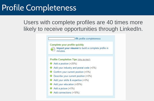 Users with complete profiles are 40 times more likely to receive opportunities through LinkedIn.